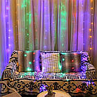 Гирлянда Штора на леске Лучи росы, 200 LED, Мультицветная, прозрачный провод (леска), 3х1м., фото 5