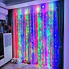Гирлянда Штора на леске Лучи росы, 200 LED, Мультицветная, прозрачный провод (леска), 3х1м., фото 8
