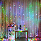 Гирлянда Штора на леске Лучи росы, 200 LED, Мультицветная, прозрачный провод (леска), 3х1м., фото 7