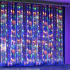 Гирлянда Штора на леске Лучи росы, 200 LED, Мультицветная, прозрачный провод (леска), 3х1м., фото 10