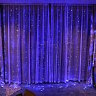 Гирлянда Штора на леске Лучи росы, 200 LED, Голубая (Синяя), прозрачный провод (леска), 3х1м., фото 4