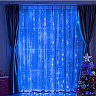 Гирлянда Штора на леске Лучи росы, 200 LED, Голубая (Синяя), прозрачный провод (леска), 3х1м., фото 3