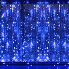 Гирлянда Штора на леске Лучи росы, 200 LED, Голубая (Синяя), прозрачный провод (леска), 3х1м., фото 5