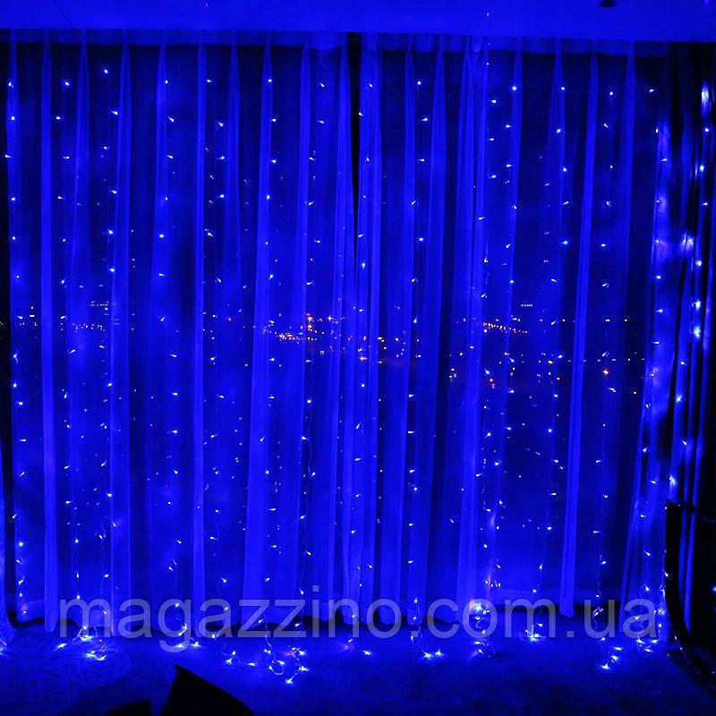 Гирлянда Штора на леске Лучи росы, 200 LED, Голубая (Синяя), прозрачный провод (леска), 3х1м.