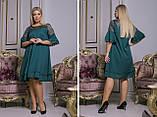Женское стильное шифоновое платье на выход батал размеры:50-52,54-56,58-60,62-64, фото 3