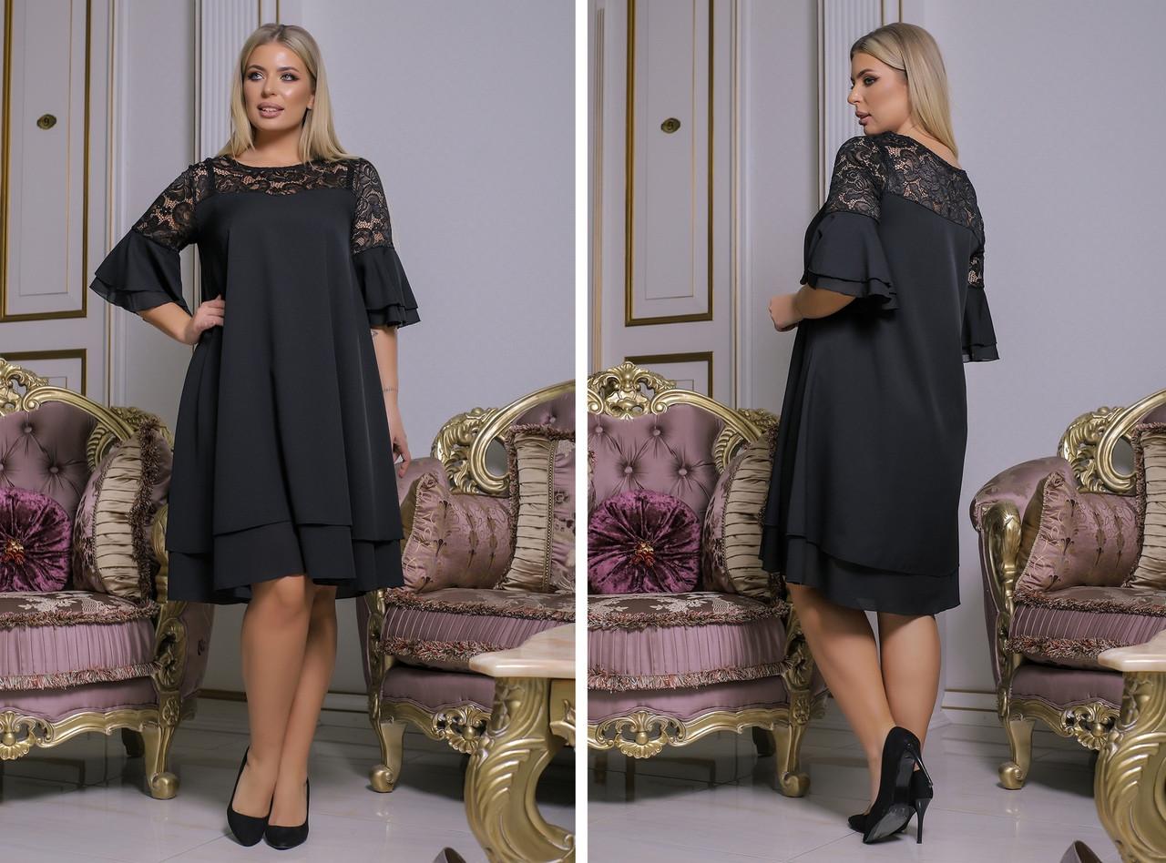 Женское стильное шифоновое платье на выход батал размеры:50-52,54-56,58-60,62-64