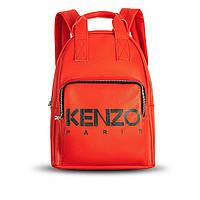 Повседневный городской кожаный женский рюкзак красного цвета