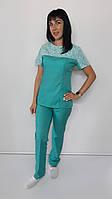 Женский медицинский костюм Флора рубашечная ткань короткий рукав, фото 1