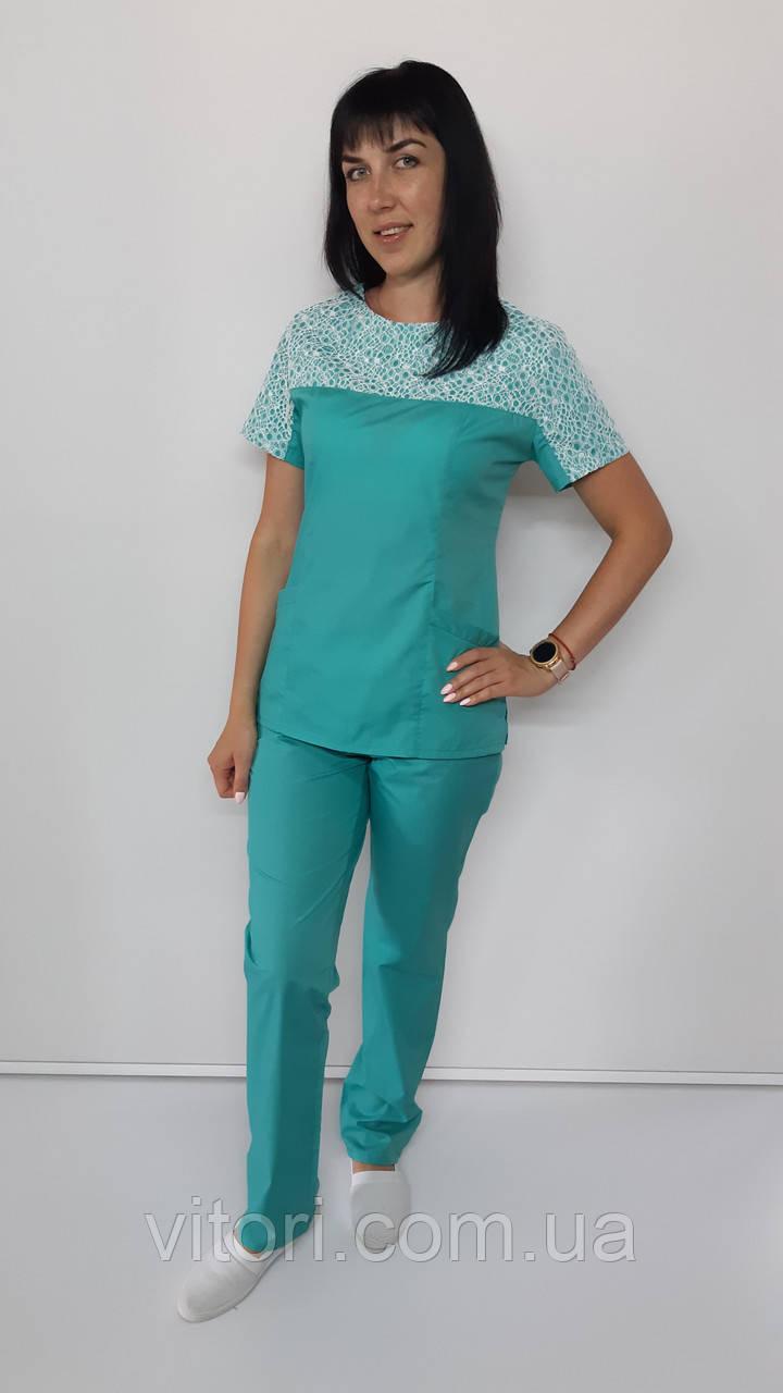 Женский медицинский костюм Флора рубашечная ткань короткий рукав