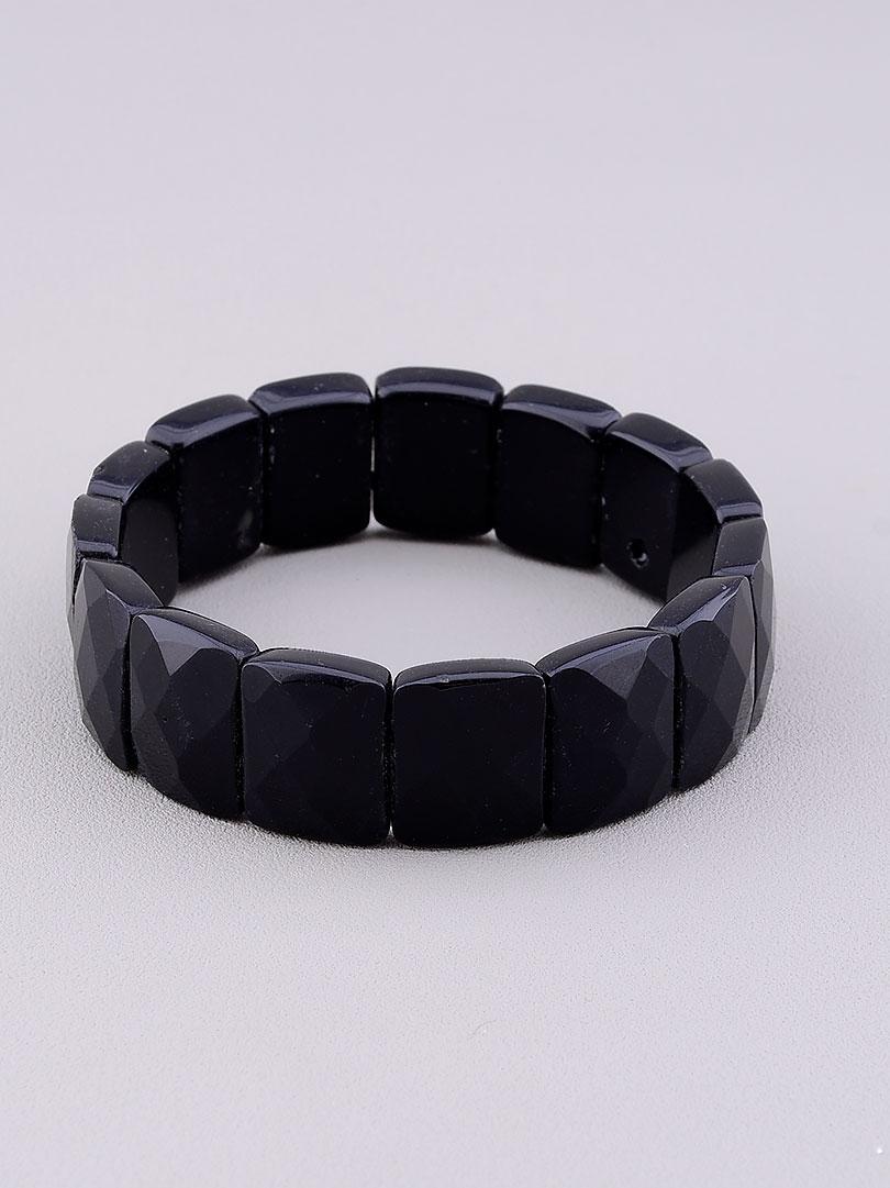 Браслет Агат черный 19 см