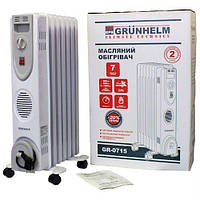 Обігрівач масляний Grunhelm GR-0715, 1.5кВт, 7 секций, защита от перегрева+термостат (Гарантия 12 месяцев)