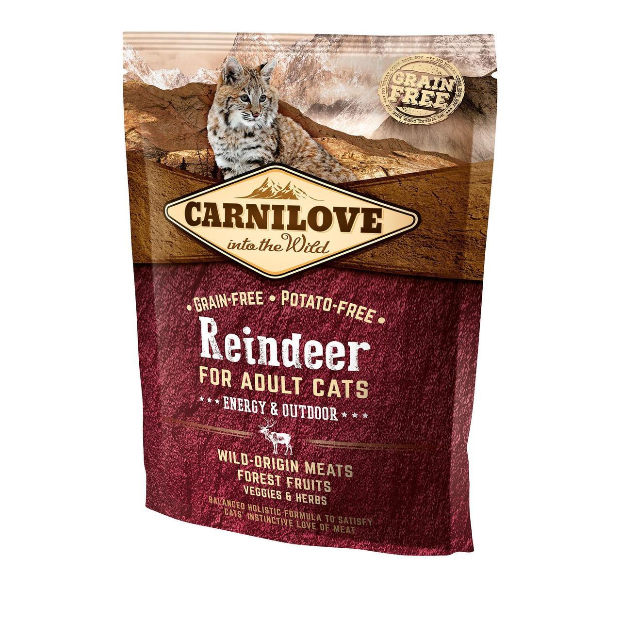 Сухой корм для активных кошек Carnilove Cat Raindeer - Energy & Outdoor 400 г (оленина и кабан)