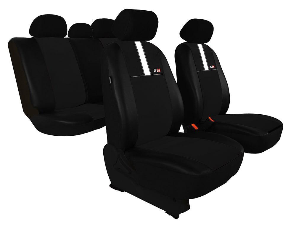 Автомобильные чехлы универсальные Pok-ter GT8 из экокожи и алькантара цвет черный с белым