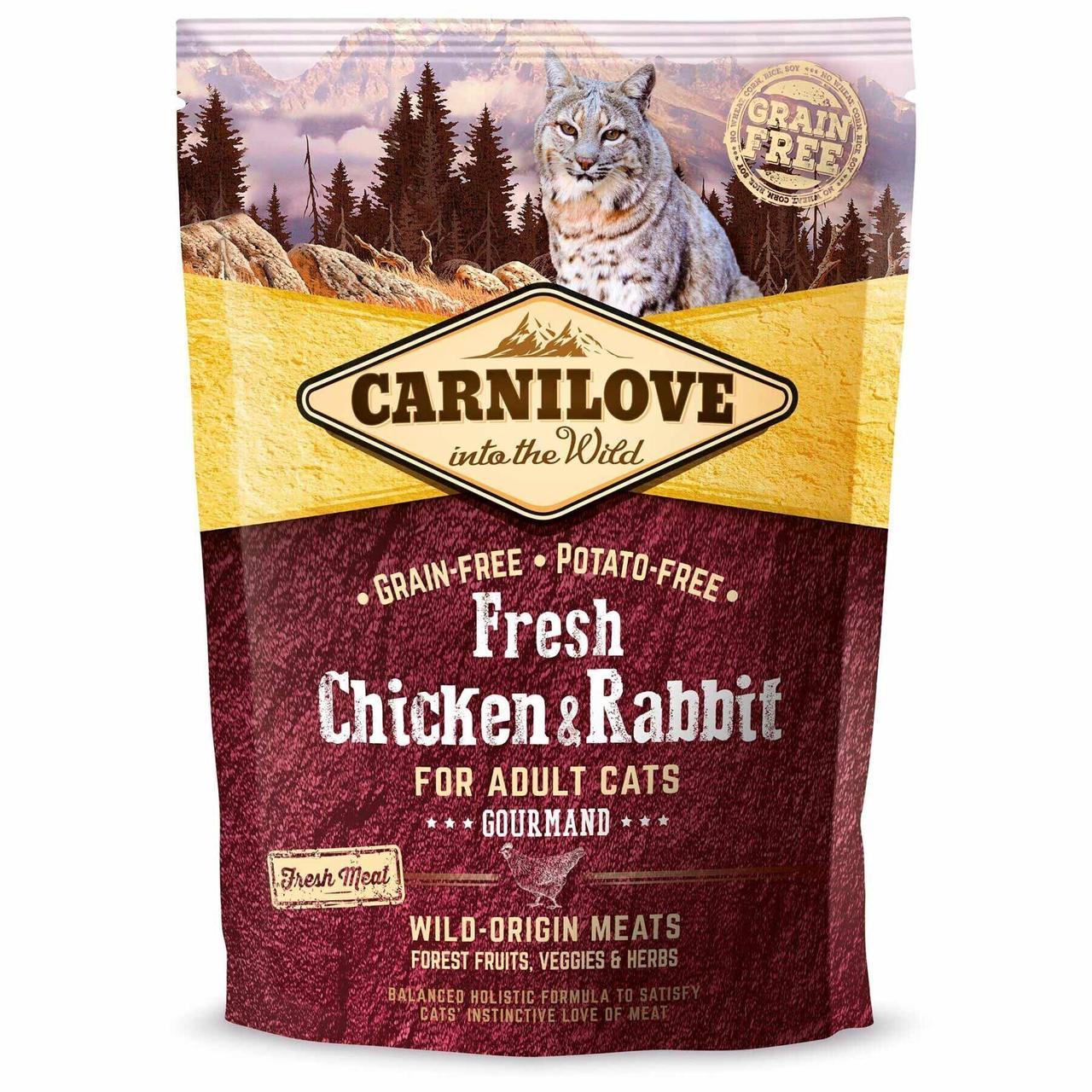 Сухой корм для взрослых кошек Carnilove Fresh Chicken & Rabbit 400 г (курица и кролик)