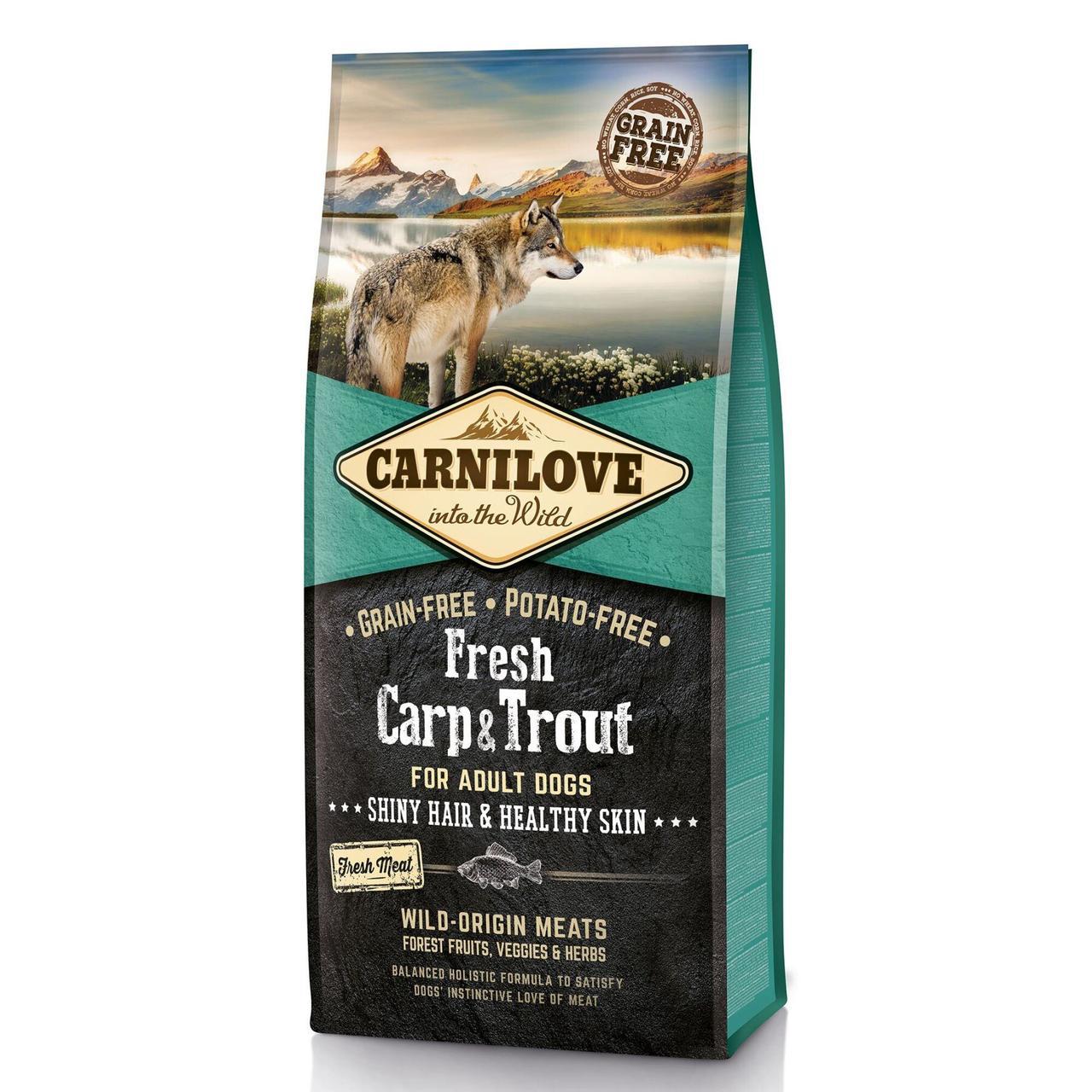 Сухой корм для взрослых собак всех пород Carnilove Fresh Carp & Trout 12 кг (рыба)