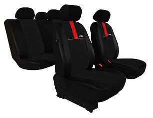 Автомобильные чехлы универсальные Pok-ter GT8 из экокожи и алькантара цвет черный с красным