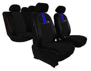 Автомобильные чехлы универсальные Pok-ter GT8 из экокожи и алькантара цвет черный с синим