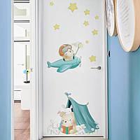 """Наклейка на стену в детскую комнату, на стены, шкаф, детский сад """"Мишки с зайчатами"""" 60см*100см (лист40*60см)"""