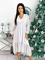 Женское асимметричное шифоновое платье миди, фото 1