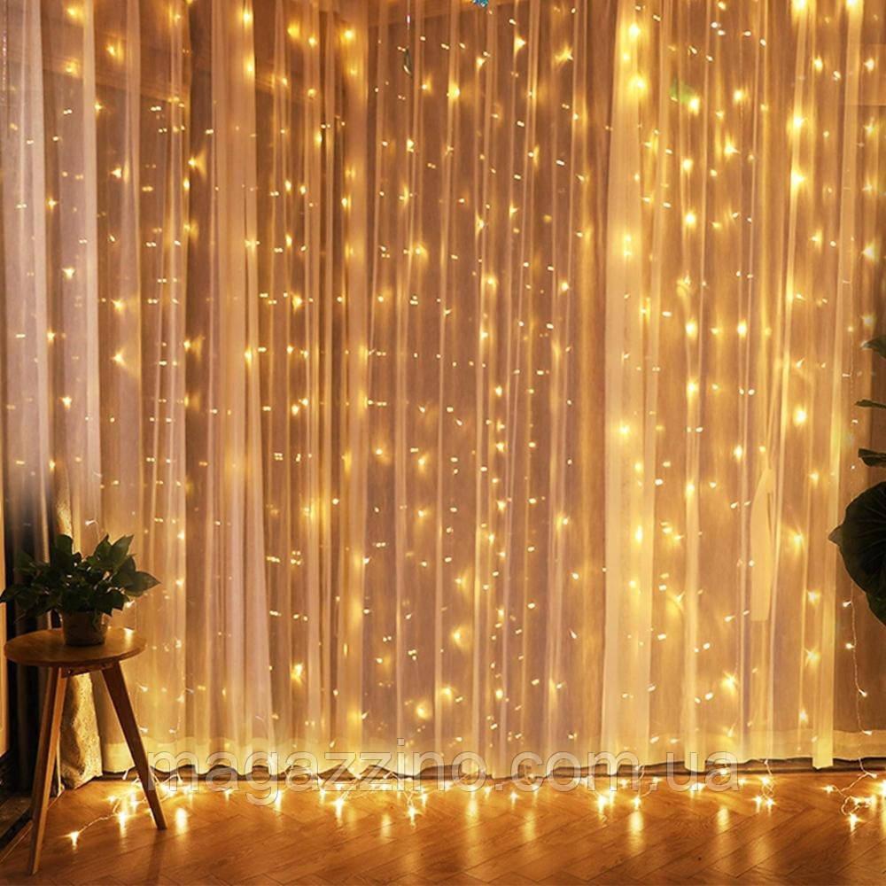 Гирлянда Штора на леске Лучи росы, 600 LED, Золотая (Желтая), прозрачный провод (леска), 3х3м.