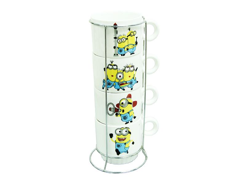 Чайні чашки в підставці Міньйон (Minions / Посі-паки) 250мл 5пр