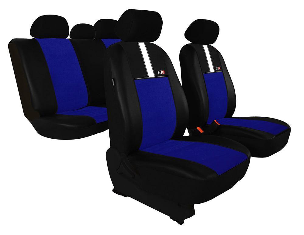 Автомобильные чехлы универсальные Pok-ter GT8 из экокожи и алькантара цвет синий