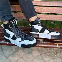 Мужские высокие кроссовки хайтопы ботинки Dolce Gabbana черно белые, фото 1