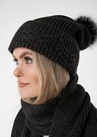 Комплект шапка+шарф  с бубоном. графит, фото 1