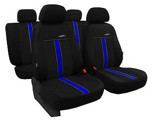 Автомобильные чехлы универсальные Pok-ter GTR из экокожи цвет черный с синим
