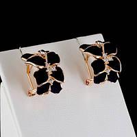 Стильные серьги с кристаллами Swarovski, покрытые слоями золота 0547