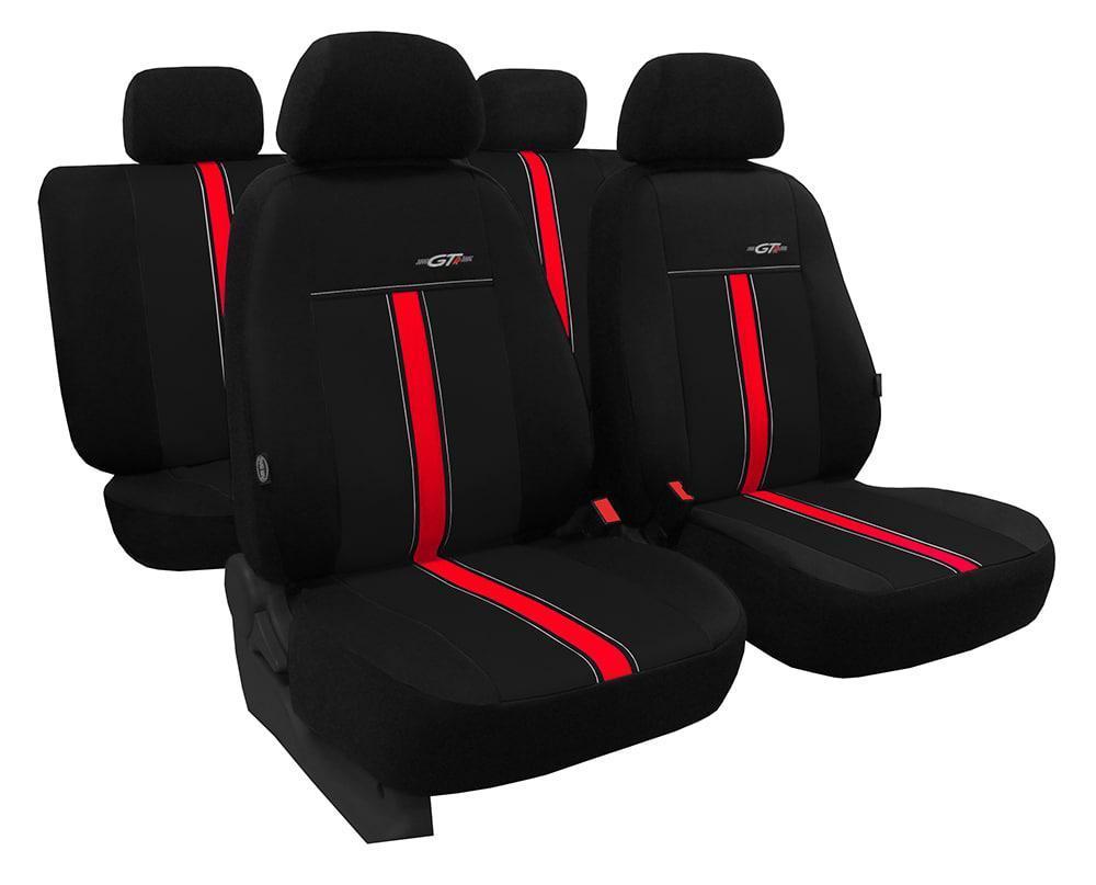 Автомобильные чехлы универсальные Pok-ter GTR из экокожи цвет черный с красным