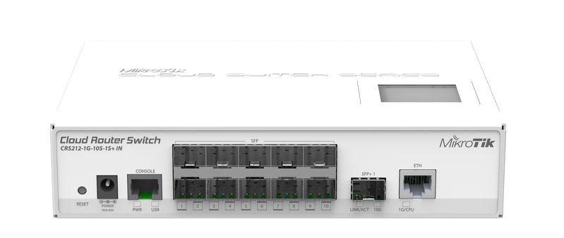 Комутатор MikroTik CRS212-1G-10S-1S+IN (1x1G, 1xSFP+, 10хSFP, L3)
