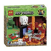Конструктор Лего Майнкрафт Minecraft Портал в Нижний мир, Bela 10812, 477 деталей, аналог LEGO