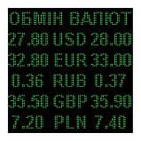 Электронное табло обмен валют двухцветное - 5 валют 960х960мм сине-желтое, фото 4