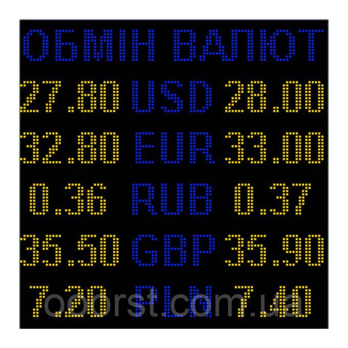 Электронное табло обмен валют двухцветное - 5 валют 960х960мм сине-желтое