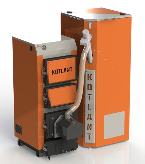 Твердотопливный котел КГУ Pellets 16 кВт с пеллетной факельной горелкой OXI и бункером для горючего