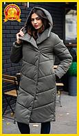 Куртка-пальто женская из плащевки теплая стильная длинная с капюшоном, хаки