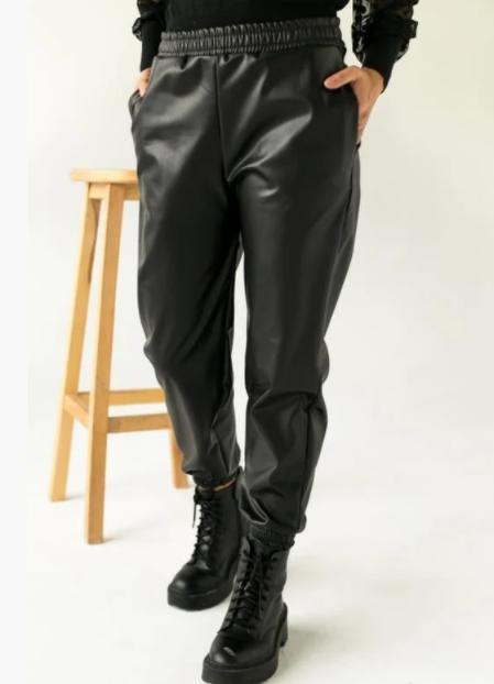 Штани з еко-шкіри на флісі FG2529