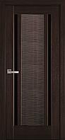 Дверь Луиза каштан черное стекло