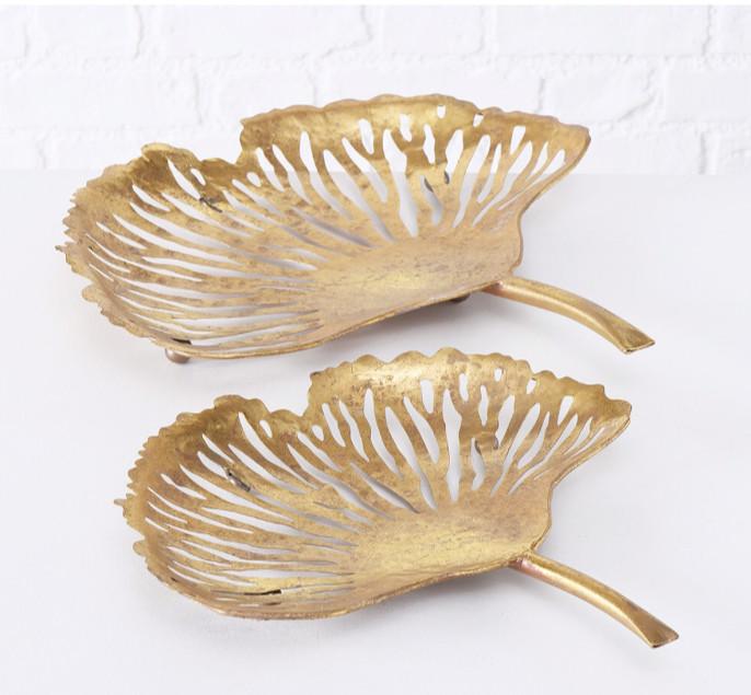 Набор двух декоративных чаш Гинкго Н 7-9 см металл золото