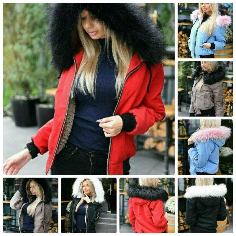Эффектная женская зимняя куртка короткая на меховой подкладке с карманами и красивым капюшоном