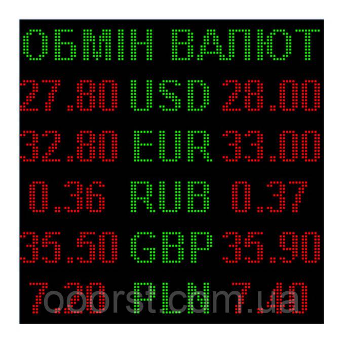 Электронное табло обмен валют двуцветное - 5 валют 960х960мм зелено-красное