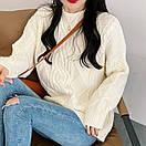 Женский свитер теплый зимний объемный ажурной вязки, фото 6