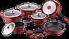 Набір кухонного посуду з мармуровим покриттям Royalty Line RL-ES2014M Burgundy 14pcs, фото 2
