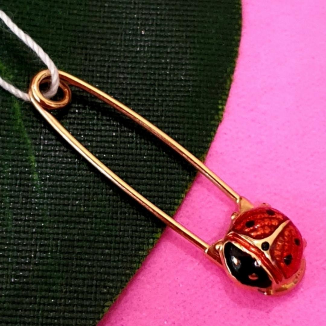 Золота шпилька Божа Корівка - Дитяча золота булавочка - Золота шпилька для дитини