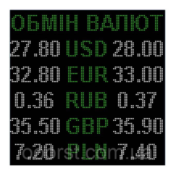 Электронное табло обмен валют двухцветное - 5 валют 960х960мм зелено-белое