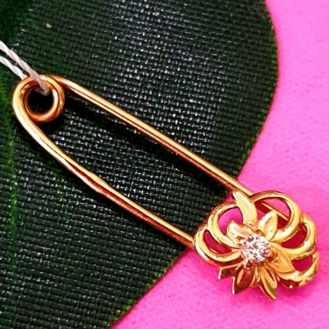 Золотая булавка - Золотая булавочка с цветочком - Женская золотая булавка