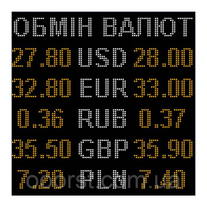 Электронное табло обмен валют двухцветное - 5 валют 960х960мм бело-желтое