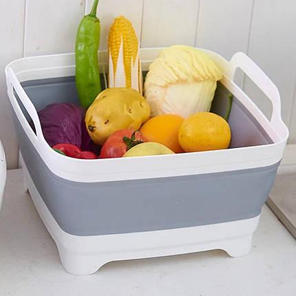 Корзина складная для овощей и фруктов портативная раковина раковину со сливом Folding Basket Серая, фото 2