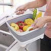 Корзина складная для овощей и фруктов портативная раковина раковину со сливом Folding Basket Серая, фото 6